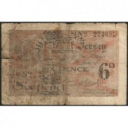 Jersey - Pick 1a_2 - 6 pence - Série JN - 1942 - Etat : B