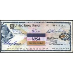 Jersey - Chèque de voyage - United Jersey Banks - 100 dollars - 1991 - Etat : TTB