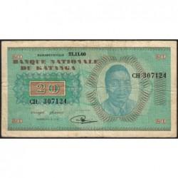 Katanga - Pick 6a - 20 francs - 21/11/1960 - Série CH - Etat : TB+