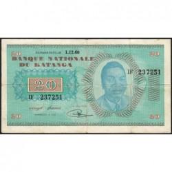 Katanga - Pick 6b - 20 francs - 01/12/1960 - Série IF - Rarissime et unique - Etat : TTB
