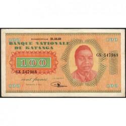 Katanga - Pick 8a - 100 francs -31/10/1960 - Série GX - Etat : TTB+