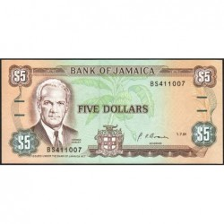 Jamaïque - Pick 70d_1 - 5 dollars - Série BS - 01/07/1991 - Etat : NEUF
