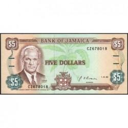 Jamaïque - Pick 70d_2 - 5 dollars - Série CZ - 01/08/1992 - Etat : NEUF
