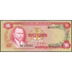 Jamaïque - Pick 53a - 50 cents - Série  BA - 1969 - Etat : pr.NEUF