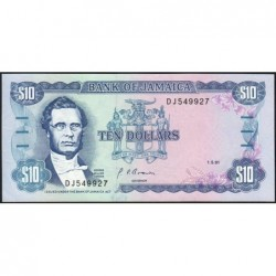Jamaïque - Pick 71d_1 - 10 dollars - Série DJ - 01/05/1991 - Etat : NEUF