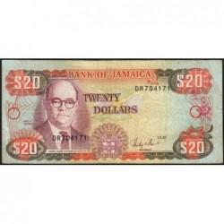 Jamaïque - Pick 72b_3 - 20 dollars - Série DR - 01/09/1987 - Etat : TB