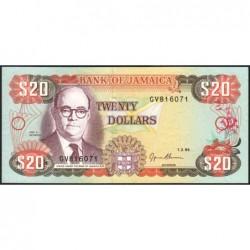 Jamaïque - Pick 72e - 20 dollars - Série GV - 01/02/1995 - Etat : NEUF