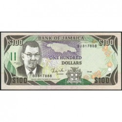 Jamaïque - Pick 74_2 - 100 dollars - Série BJ - 01/09/1987 - Etat : NEUF