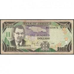 Jamaïque - Pick 74_2 - 100 dollars - Série BU - 01/09/1987 - Etat : TB