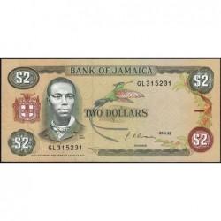 Jamaïque - Pick 69d_2 - 2 dollars - Série GL - 29/05/1992 - Etat : NEUF
