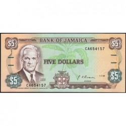 Jamaïque - Pick 70d_1 - 5 dollars - Série CA - 01/07/1991 - Etat : NEUF