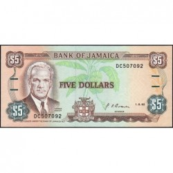 Jamaïque - Pick 70d_2 - 5 dollars - Série DC - 01/08/1992 - Etat : NEUF