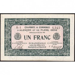 Alençon / Flers (Orne) - Pirot 6-10 - 1 franc - Série R1 - 10/08/1915 - Etat : SPL
