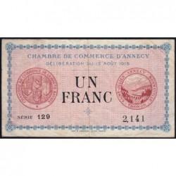 Annecy - Pirot 10-1 - 1 franc - Série 129 - 13/08/1915 - Etat : TB+