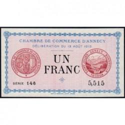 Annecy - Pirot 10-1 - 1 franc - Série 146 - 13/08/1915 - Etat : NEUF