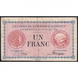 Annecy - Pirot 10-5 - 1 franc - Série 178 - 14/03/1916 - Etat : TB