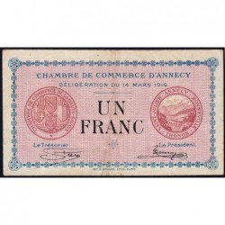 Annecy - Pirot 10-5 - 1 franc - Série 183 - 14/03/1916 - Etat : TB+