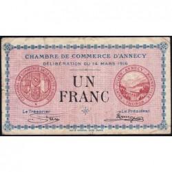 Annecy - Pirot 10-5 - 1 franc - Série 184 - 14/03/1916 - Etat : TB