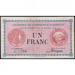 Annecy - Pirot 10-5 - 1 franc - Série 188 - 14/03/1916 - Etat : TTB