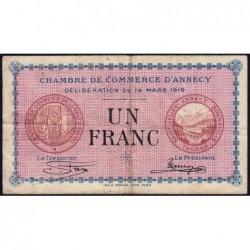 Annecy - Pirot 10-5 - 1 franc - Série 160 - 14/03/1916 - Etat : TB-