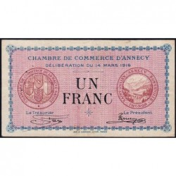 Annecy - Pirot 10-5 - 1 franc - Série 165 - 14/03/1916 - Etat : TB-