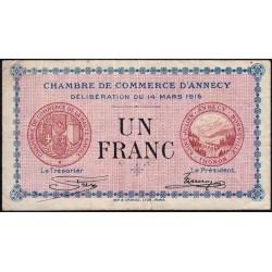 Annecy - Pirot 10-5 - 1 franc - Série 165 - 14/03/1916 - Etat : TB