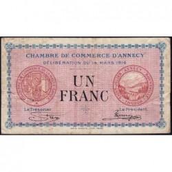 Annecy - Pirot 10-5 - 1 franc - Série 168 - 14/03/1916 - Etat : TB-