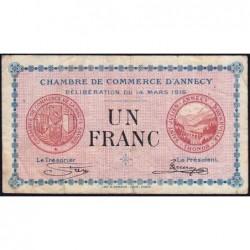 Annecy - Pirot 10-5 - 1 franc - Série 188 - 14/03/1916 - Etat : TB