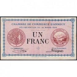 Annecy - Pirot 10-5 - 1 franc - Série 151 - 14/03/1916 - Etat : SUP