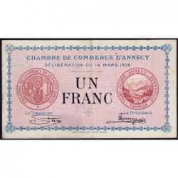 Annecy - Pirot 10-5 - 1 franc - Série 151 - 14/03/1916 - Etat : TTB