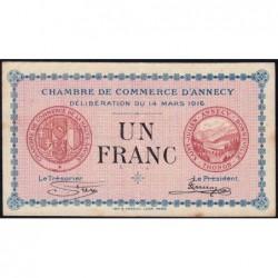 Annecy - Pirot 10-5 - 1 franc - Série 193 - 14/03/1916 - Etat : TTB+