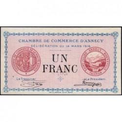 Annecy - Pirot 10-5 - 1 franc - Série 194 - 14/03/1916 - Etat : SUP