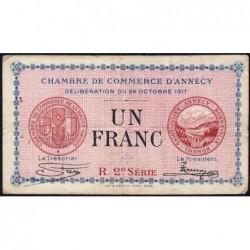 Annecy - Pirot 10-12 - 1 franc - R. 2e Série 220 - 24/10/1917 - Etat : TB-