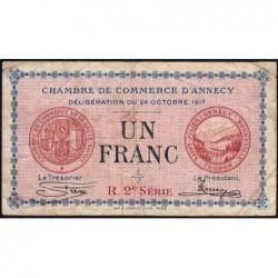 Annecy - Pirot 10-12 - 1 franc - R. 2e Série 220 - 24/10/1917 - Etat : B+