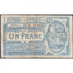 Auch (Gers) - Pirot 15-10 - 1 franc - Série J - 16/12/1916 - Etat : TB-