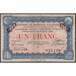 Auxerre - Pirot 17-26 - 1 franc - Série 105 - 15/04/1920 - Etat : B à B+