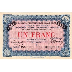 Auxerre - Pirot 17-22 - 1 franc - Série 101 - 08/01/ 1920 - Etat : SPL