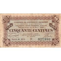 Auxerre - Pirot 17-24 - 50 centimes - Série A 101 - 15/04/1920 - Etat : B à B+