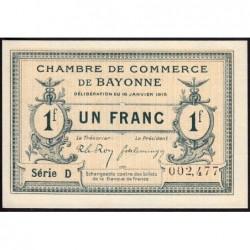 Bayonne - Pirot 21-9a - 1 franc - Série D - 16/01/1915 - Etat : pr.NEUF