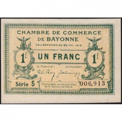 Bayonne - Pirot 21-34 - 1 franc - Série 5 - 22/05/1916 - Etat : SPL+