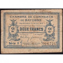 Bayonne - Pirot 21-36 - 2 francs - Série V - 22/05/1916 - Etat : B+