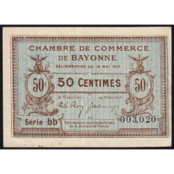 Bayonne - Pirot 21-42 - 50 centimes - Série bb - 19/05/1917 - Etat : TTB