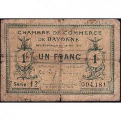 Bayonne - Pirot 21-45 - 1 franc - Série 12 - 19/05/1917 - Etat : B-
