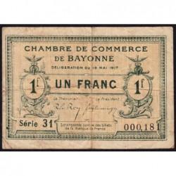 Bayonne - Pirot 21-45 - 1 franc - Série 31 - 19/05/1917 - Etat : TB