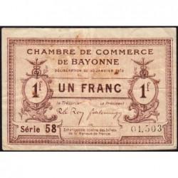 Bayonne - Pirot 21-59 - 1 franc - Série 58 - 30/01/1918 - Etat : TB+