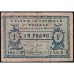Bayonne - Pirot 21-64 - 1 franc - Série 108 - 17/11/1919 - Etat : B