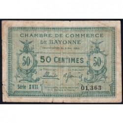 Bayonne - Pirot 21-66 - 50 centimes - Série XVII (17) - 05/05/1920 - Etat : TB-