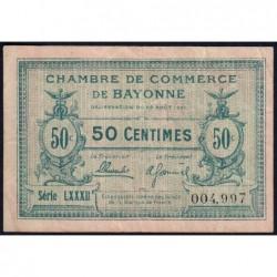 Bayonne - Pirot 21-69 - 50 centimes - Série LXXXII (82) - 26/08/1921 - Etat : TB+