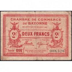 Bayonne - Pirot 21-72 - 2 francs - Série GGG - 26/08/1921 - Etat : B+