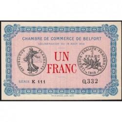 Belfort - Pirot 23-9 - 1 franc - Série K 111 - 18/08/1915 - Etat : SPL